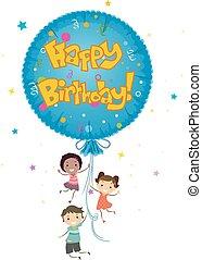 gosses, stickman, balloon, anniversaire, mylar, heureux