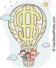 gosses, stickman, balloon, dollar, illustration, air