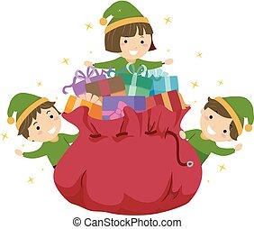 gosses, stickman, cadeau, elfe, illustration, sac