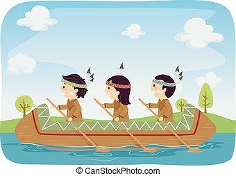 gosses, stickman, canoë, illustration, américain, indigène