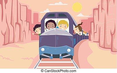 gosses, stickman, canyon, illustration, tour, train