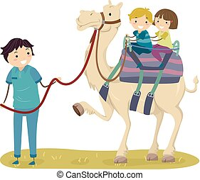 gosses, stickman, chameau, cavalcade, illustration, guide
