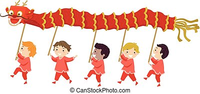 gosses, stickman, danse, illustration, dragon, garçons