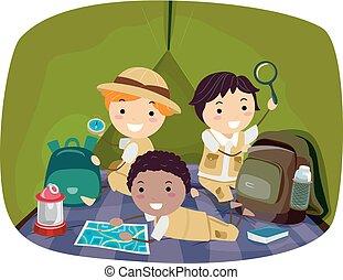 gosses, stickman, explorateur, illustration, garçons, tente