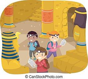 gosses, stickman, explorateur, pyramide