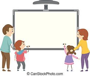 gosses, stickman, famille, illustration, écrire, planche, interactif