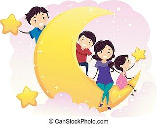 gosses, stickman, famille, illustration, lune, étoiles