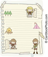 gosses, stickman, filles, illustration, papier, scouts