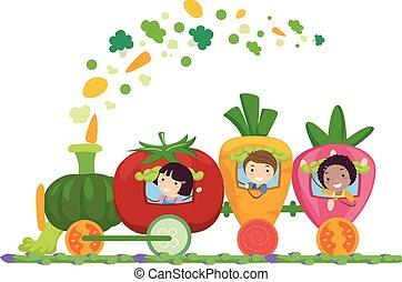 gosses, stickman, fruit, train, illustration, légume