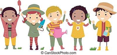 gosses, stickman, illustration, équipement, outils jardinage