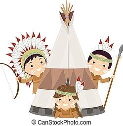 gosses, stickman, illustration, américain, indigène, tente