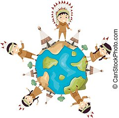 gosses, stickman, illustration, américain, la terre, indigène