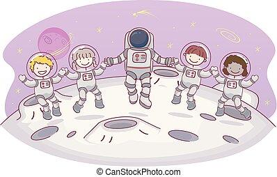 gosses, stickman, illustration espace, lune, astronaute