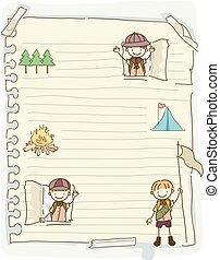 gosses, stickman, illustration, garçons, papier, scouts