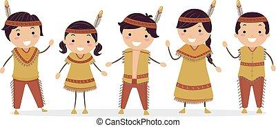 gosses, stickman, illustration, indien amérique, indigène