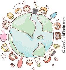 gosses, stickman, illustration, jardinage, la terre, outils
