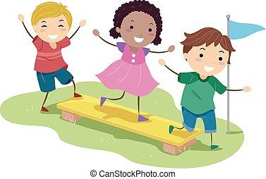 gosses, stickman, illustration, obstacle, équilibre, planche
