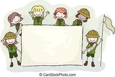 gosses, stickman, illustration, planche, scouts, girl