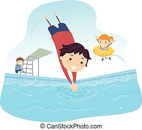 gosses, stickman, illustration, plongeon