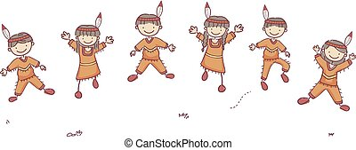 gosses, stickman, illustration, saut, américain, indigène