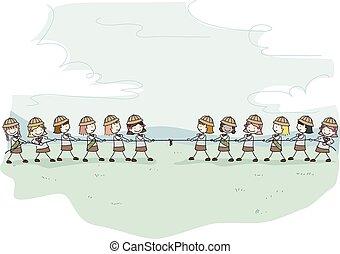 gosses, stickman, illustration, scouts, girl, guerre, remorqueur