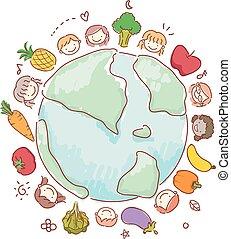 gosses, stickman, légumes, illustration, fruits, la terre