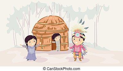 gosses, stickman, maison, américain, apache, indigène