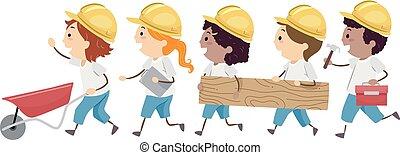gosses, stickman, maison, illustration, promenade, construction