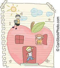 gosses, stickman, pomme, maison, illustration, sketchpad