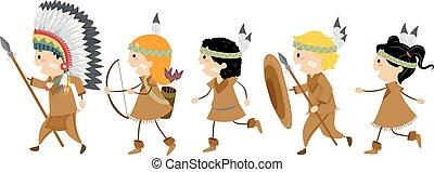 gosses, stickman, promenade, américain, déguisement, indigène