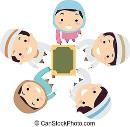gosses, stickman, quran, musulman, illustration, mains