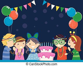 gosses, stickman, sombre, fêtede l'anniversaire, lueur