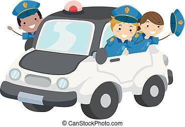 gosses, stickman, voiture, policiers, illustration, police