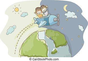 gosses, stickman, voyage, illustration, nuit, mondiale, jour