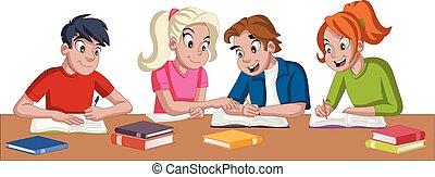 gosses, studying., étudiants, books., adolescent, dessin animé