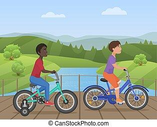 gosses, vélo, illustration., vélos, vélo, africaine, parc, vecteur, enfant, équitation, blanc