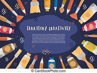 gosses, vecteur, bannière, illustration, concept, créativité, dessiné, main, brosses, splash., dessin, peintures, art, éléments, crayons, education, affiche, conception, classe, aquarelle, fond, cadre, ou