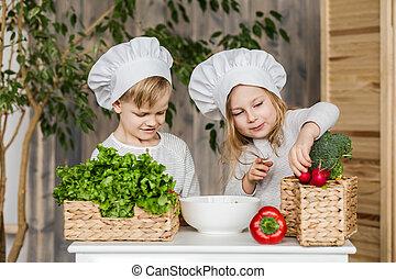 gosses, vegetables., famille, salads., sain, nourriture., légume, confection, cuisine