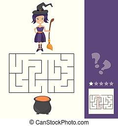 gosses, vieux, aide, ceci, jeu, chaudron, lets, sorcière, labyrinthe, witch., trouver