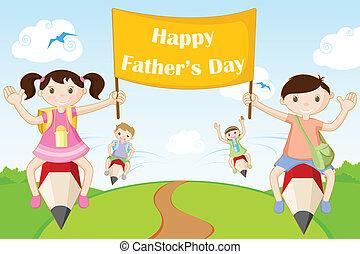 gosses, voler, père, bannière, jour, heureux