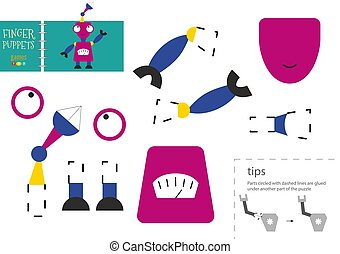 gosses, worksheet, toy., pédagogique, vecteur, couper papier, préscolaire, colle