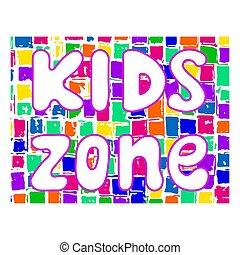 gosses, zone, illustration., vecteur, design., enfants, bannière, playground.