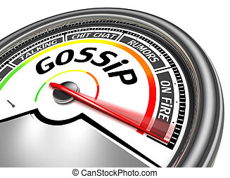 gossip conceptual meter, isolated on white background