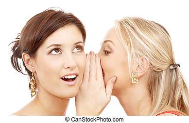 gossip - two happy young girlfriends talking over white