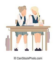 gossiping, 女の子, ベクトル, 学校, イラスト, 2, 机, モデル