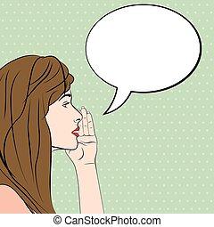gossiping, 女性, ∥で∥, スピーチ泡