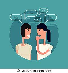 gossiping, 平ら, 女の子, イラスト