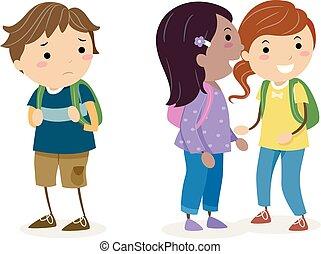 gossiping, bambini, stickman, illustrazione