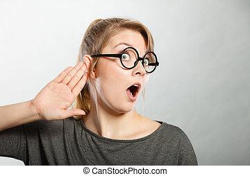Gossiping shocked girl portrait. - Rumors and gossips ...