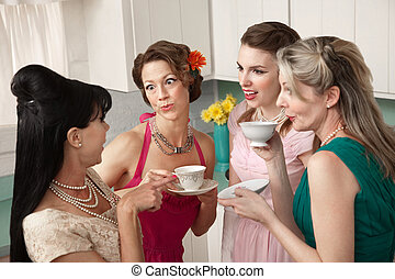 Gossiping Women - Four retro-styled women chit-chat over...